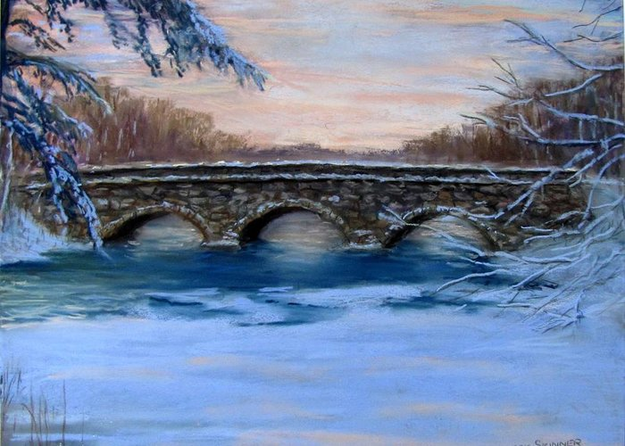Concord. Winter Greeting Card featuring the painting Elm Street Bridge On A Winter's Morn by Jack Skinner