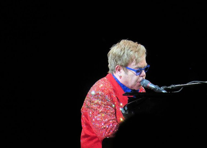 Singer Greeting Card featuring the photograph Elton by Aaron Martens
