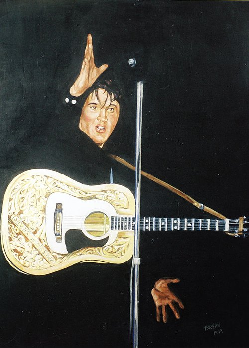 Elvis Presley Greeting Card featuring the painting Elvis 1956 by Bryan Bustard