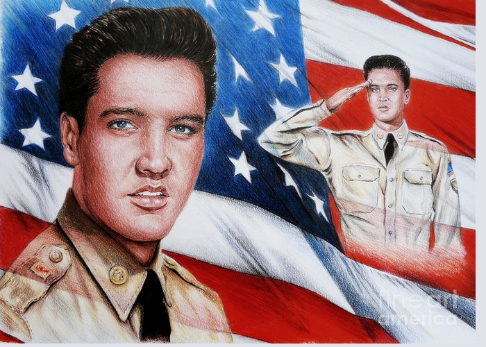 Elvis Greeting Card featuring the painting Elvis Patriot by Andrew Read