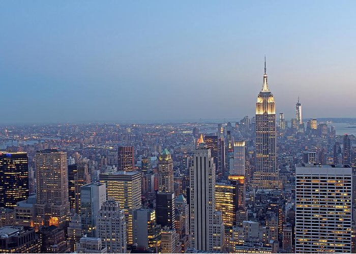 New York City Greeting Card featuring the photograph Empire State Building In Midtown Manhattan by Juergen Roth