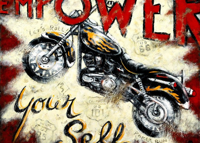 Red Art Greeting Card featuring the painting Empower Your Self by Janet Kruskamp