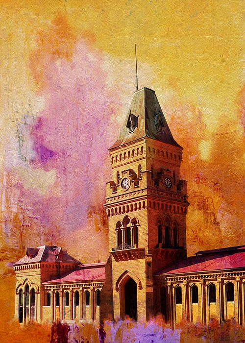 Pakistan Greeting Card featuring the painting Empress Market by Catf