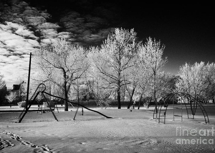 Hoar Greeting Card featuring the photograph empty childrens playground with hoar frost covered trees on street in small rural village of Forget by Joe Fox