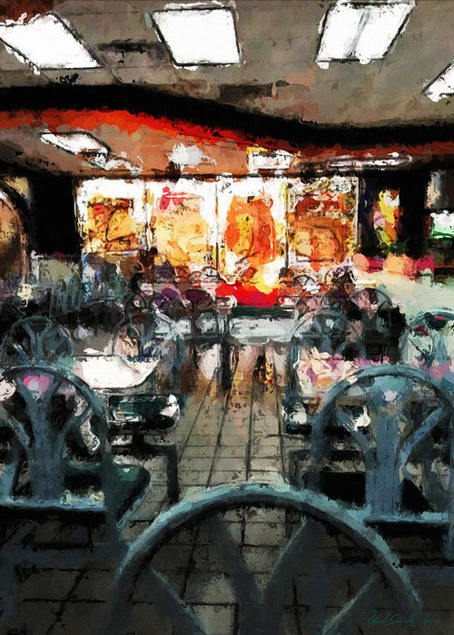 Restaurant Greeting Card featuring the painting Empty Restaurant by Robert Smith