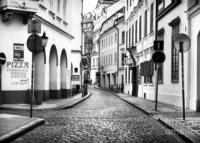 Empty Street In Prague Greeting Card featuring the photograph Empty Street In Prague by John Rizzuto