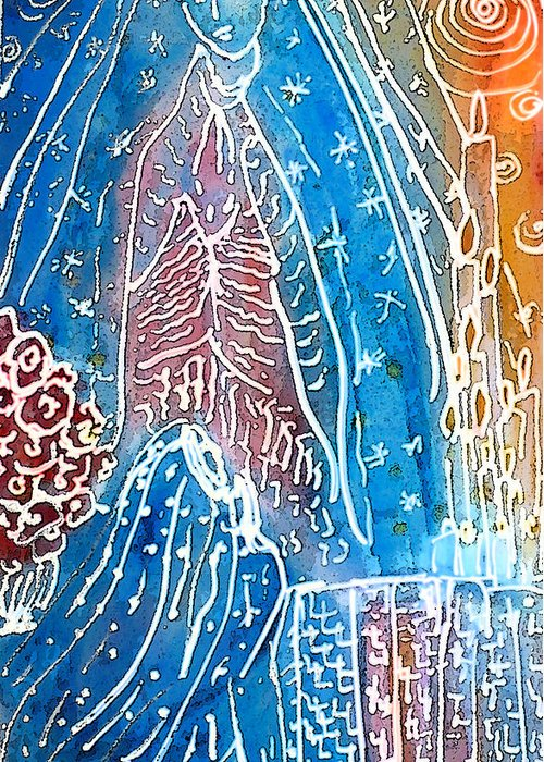 Virgin Of Guadalupe Greeting Card featuring the painting Encounter by Tolere
