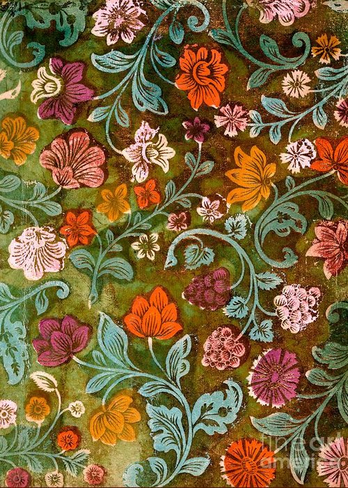Endplate Greeting Card featuring the tapestry - textile Endplate From A Turkish Book by Turkish School