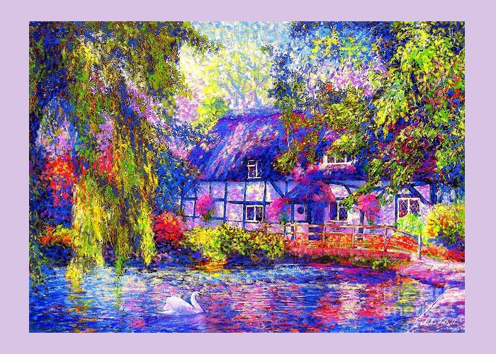 Cottage Greeting Card featuring the painting English Cottage by Jane Small
