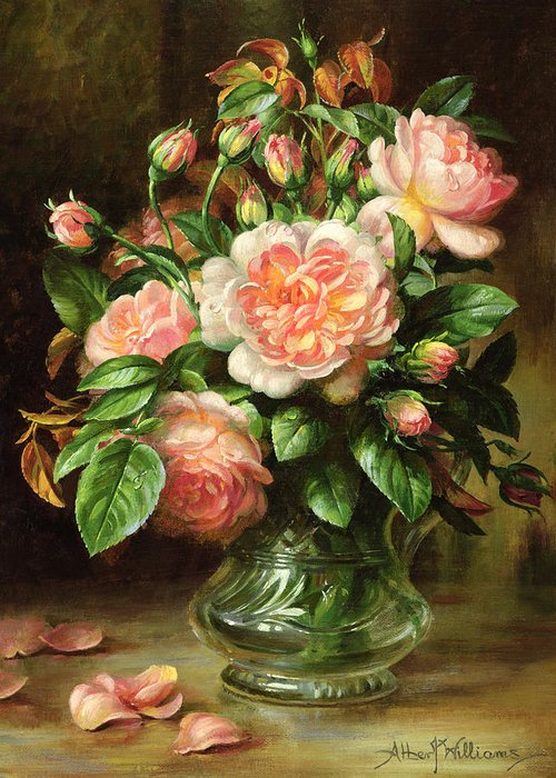 Rose Greeting Card featuring the painting English Elegance Roses In A Glass by Albert Williams