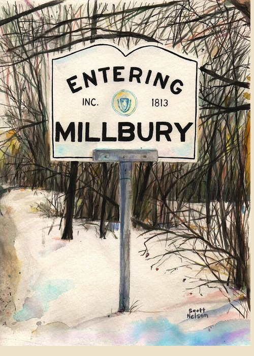 Millbury Greeting Card featuring the painting Entering Millbury by Scott Nelson