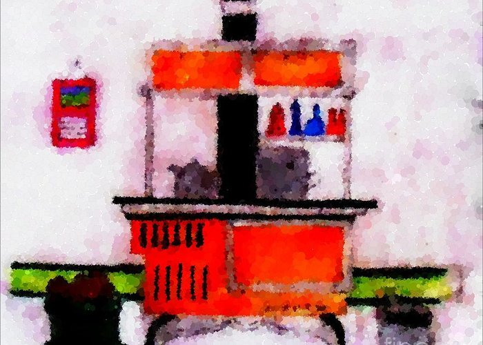 Enterprise Woodstove Greeting Card featuring the digital art Enterprise Woodstove by Barbara Griffin