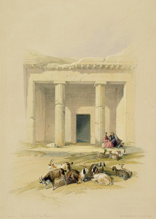 Goat Greeting Card featuring the painting Entrance To The Caves Of Bani Hasan by David Roberts