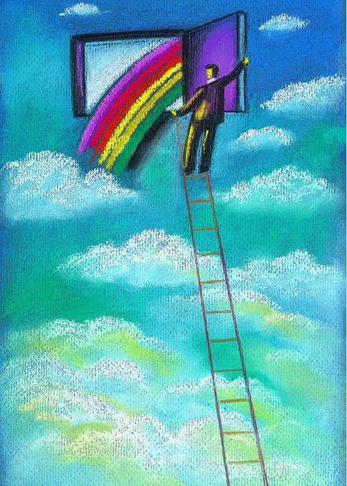 Aspiration Aspire Benefit Businessman Busy Career Career Choice Career Path Challenge Cheerful Climb Climbing Compensation Conquering Corporate Corporate Ladder Corporation Day Daylight Daytime Dedication Delight Delighted Destination Determination Development Door Doorway Drawing Dream Dreamer Dreaming Eagerness Enjoyment Enterprise Enthusiasm Entrance Entrepreneur Entry Equipment Executive Exploration Fortitude Fortune Gaiety Gentleman Glad Gleeful Goal Good Luck Greeting Card featuring the painting Entrepreneur by Leon Zernitsky