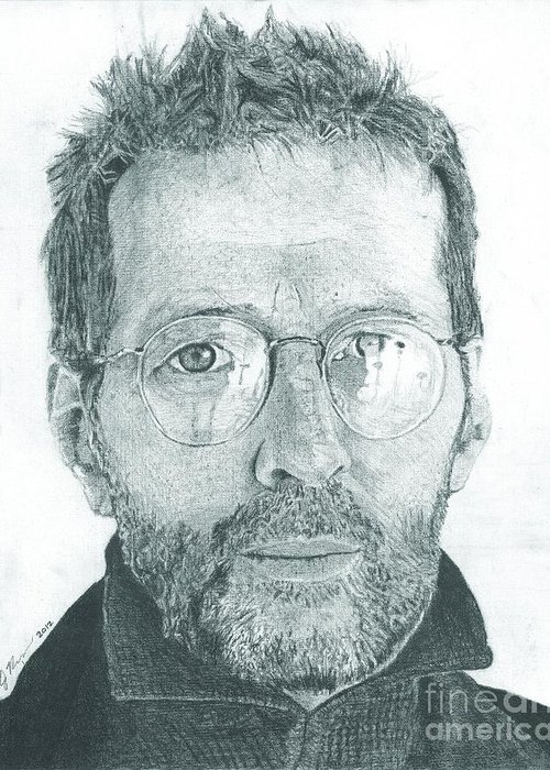 Eric Clapton Legendary Guitar Player Songwriter Slowhand Derek And The Dominoes Cream Greeting Card featuring the drawing Eric Clapton by Jeff Ridlen