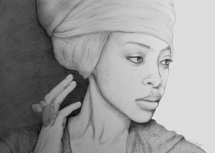Erykah Badu Erica Erika Hip Hop Soul Hip-hop R&b Diva Neo Soul Female Vocalist Jazz Portrait Pencil Drawing Musical Artist Neo-soul Singer Queen Neosoul Eryka Erikah Jazz Singer Soul Singer Fresh Top 40 Pop Jazzy Baduism Orange Moon Andre 2000 Concert Music Texas African American Black African-american Rap B Girl B-girl B-boy Rapper Head Wrap Onk Egypt Africa 360 Degrees Experience Soul Child Billie Holiday Dj Voodoo Ifa Vodun Pensive Thoughtful Deep In Thought Classy Talented Talent Musician Greeting Card featuring the drawing Erykah Badu Graphite On Museum Panel by Tim Fogarty