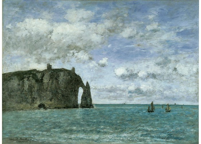 Eugene Boudin Greeting Card featuring the painting Etretat The Porte D'aval by Eugene Boudin