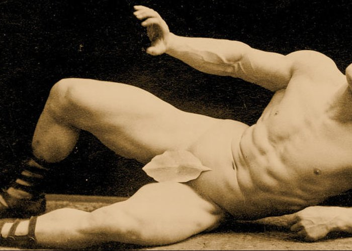 Male Greeting Card featuring the photograph Eugen Sandow by Benjamin J Falk