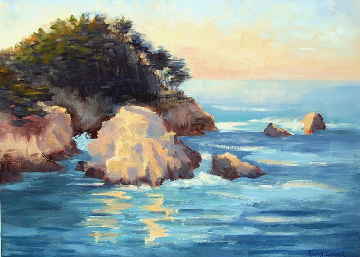 Big Sur Coast Greeting Card featuring the painting Evening Light Point Lobos by Karin Leonard