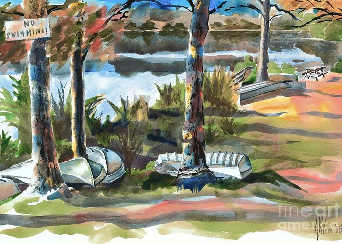 Evening Shadows At Shepherd Mountain Lake No W101 Greeting Card featuring the painting Evening Shadows At Shepherd Mountain Lake No W101 by Kip DeVore