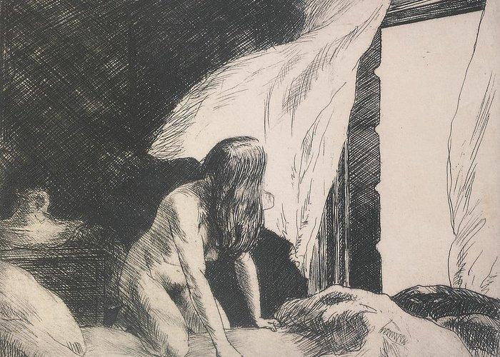 Edward Hopper Greeting Card featuring the painting Evening Wind by Edward Hopper