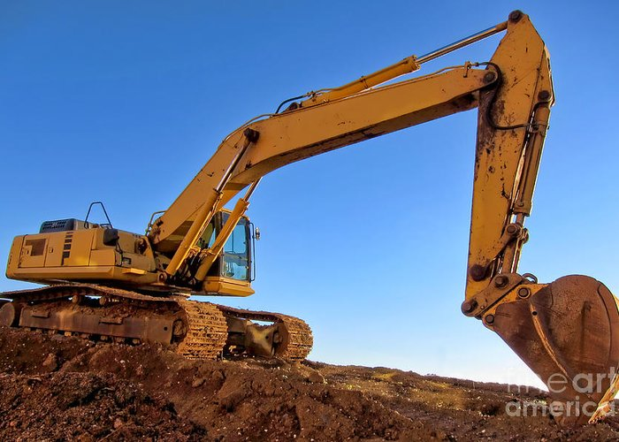 Excavator Greeting Card featuring the photograph Excavator by Olivier Le Queinec