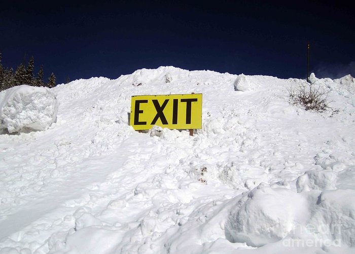 Snow Greeting Card featuring the photograph Exit by Fiona Kennard