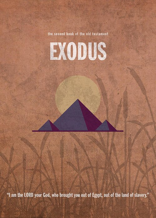 Exodus Greeting Card featuring the mixed media Exodus Books Of The Bible Series Old Testament Minimal Poster Art Number 2 by Design Turnpike