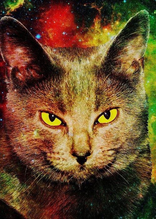 Malakhova Greeting Card featuring the digital art Eye Contact by Anastasiya Malakhova