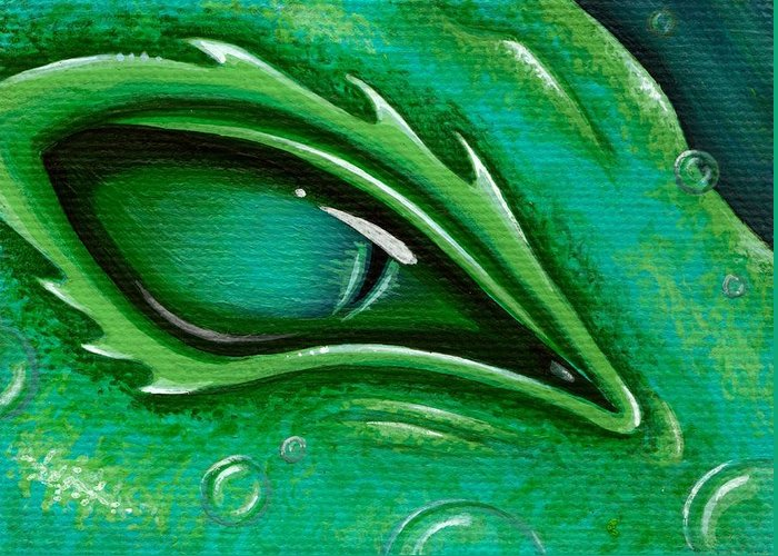 Green Dragon Greeting Card featuring the painting Eye Of The Green Algae Dragon by Elaina Wagner