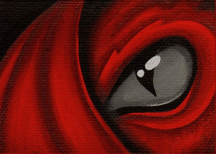 Red Dragon Greeting Card featuring the painting Eye Of The Scarlett Hatching by Elaina Wagner