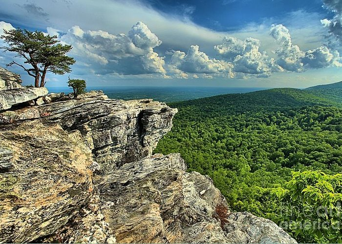 Hanging Rock State Park Greeting Card featuring the photograph Face In The Cliff by Adam Jewell