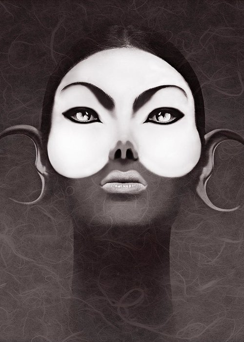 People Greeting Card featuring the digital art Face Moon by Yosi Cupano