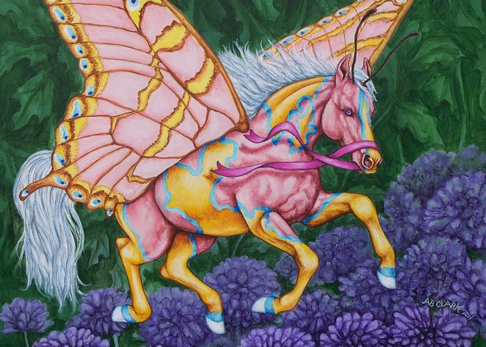 Horses Greeting Card featuring the painting Faery Horse Hope by Beth Clark-McDonal