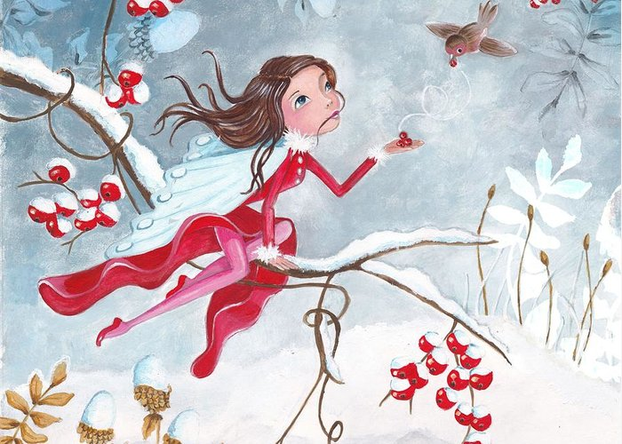 Cartita Design Greeting Card featuring the painting Fairy With Berries by Caroline Bonne-Muller