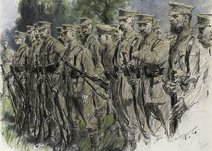 Soldier Greeting Card featuring the pastel Fall In Norfolk Volunteers by Frank Gillett
