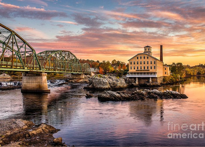 Androscoggin Greeting Card featuring the photograph Fall Morning Across From The Bowdoin Mill by Benjamin Williamson