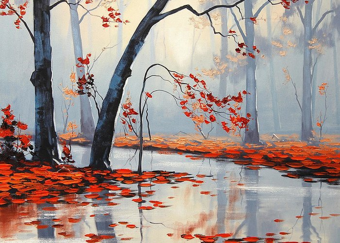 Fall Greeting Card featuring the painting Fall River Painting by Graham Gercken