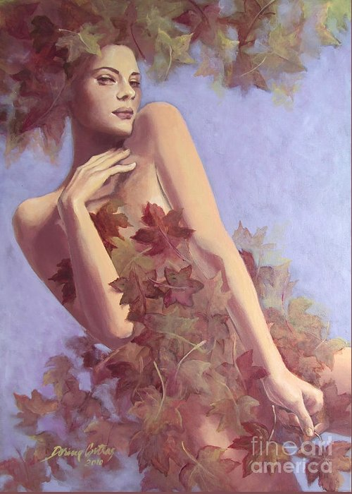 Painting Greeting Card featuring the painting Fall...in Love... by Dorina Costras