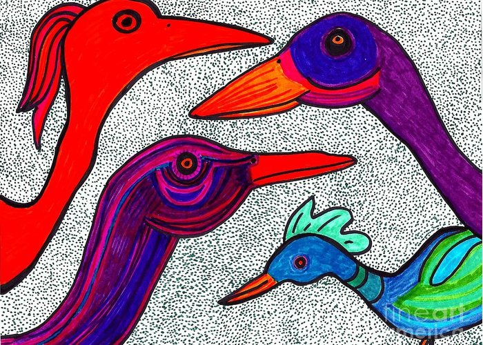 Birds Greeting Card featuring the drawing Family Portrait by Sarah Loft