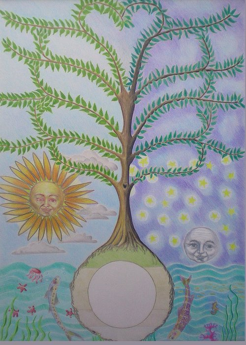 Family Tree Greeting Card featuring the painting Family Tree Chart Sun Moon And Stars by Alix Mordant