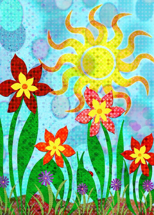 Flower Greeting Card featuring the digital art Fanciful Flowers by Shawna Rowe