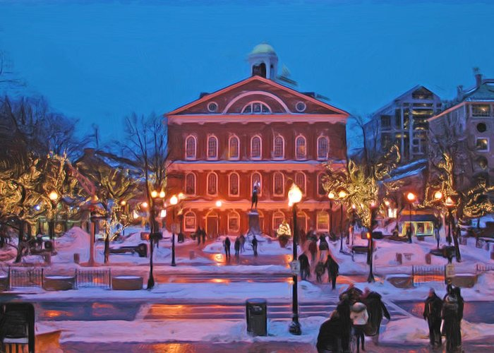 Boston Greeting Card featuring the photograph Faneuil Hall Holiday- Boston by Joann Vitali