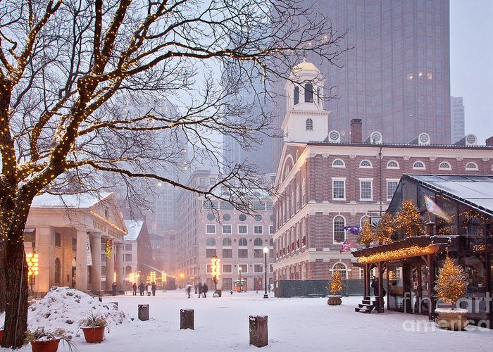 Architecture Greeting Card featuring the photograph Faneuil Hall In Snow by Susan Cole Kelly