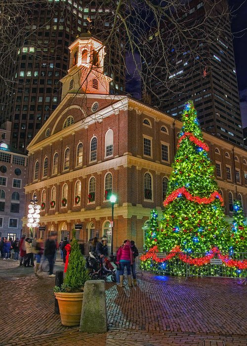 Quincy Market Greeting Card featuring the photograph Faneuil Hall Night by Joann Vitali