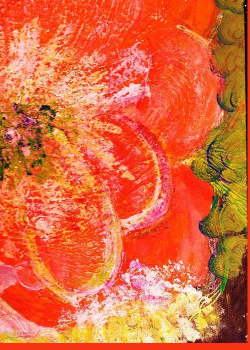 Orange Greeting Card featuring the painting Fantasia With Orange by Anne-Elizabeth Whiteway