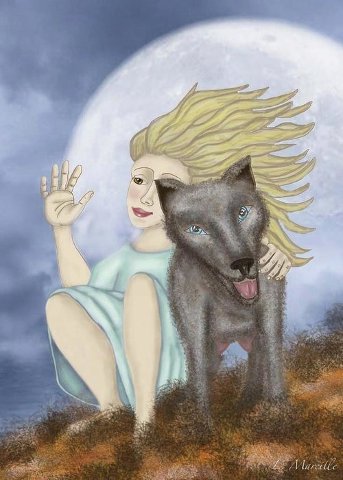 Full Moon Greeting Card featuring the painting Farewell The Journey Begins by Linda Marcille