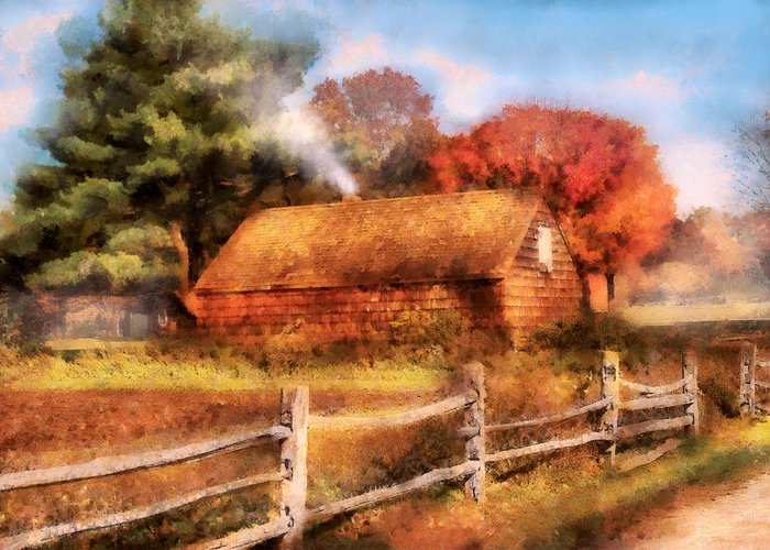 Savad Greeting Card featuring the digital art Farm - Barn - Our Cabin by Mike Savad
