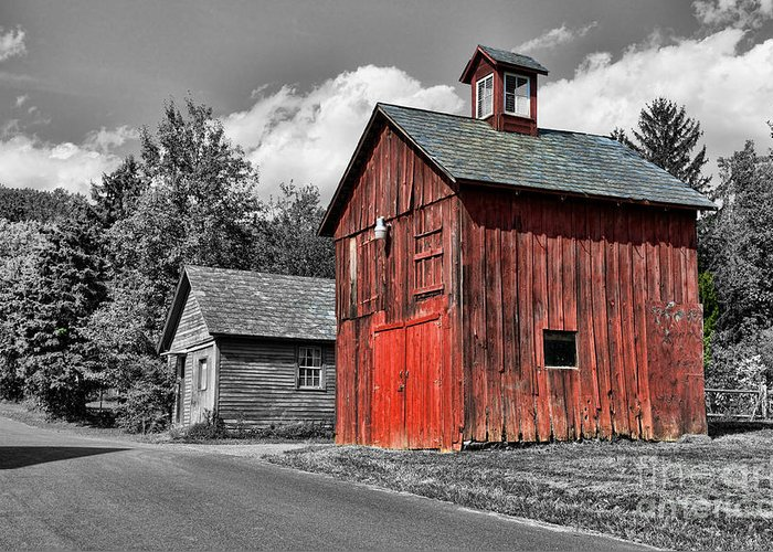 Paul Ward Greeting Card featuring the photograph Farm - Barn - Weathered Red Barn by Paul Ward