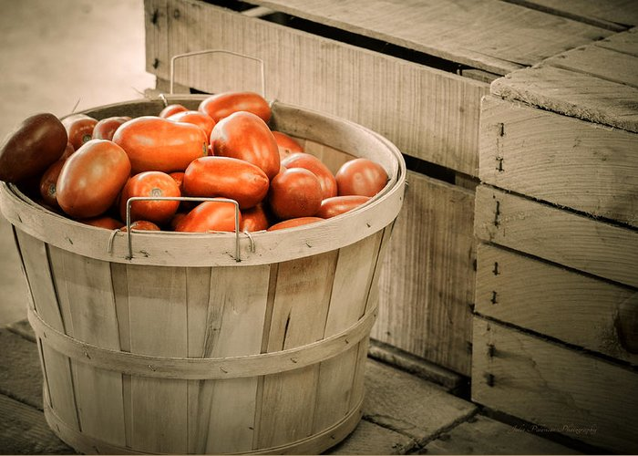 Bushel Greeting Card featuring the photograph Farmers Market Plum Tomatoes by Julie Palencia